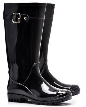 cizme de ploaie negre inalte lucioase cu catarama si talpa aderenta