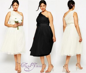 ASOS CURVE WEDDING Mesh Midi Dress with One Shoulder Corsage