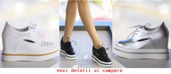 pantofi casual dama cu platforma perforatii si decupaje laterale de culoare alba neagra si argintie