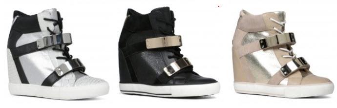 sneakersi-wedge cu accente metalice in trei culori
