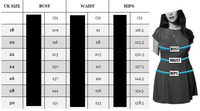 tabel marimi pentru rochii