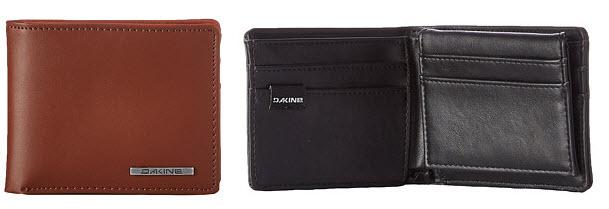 Portofel barbati Dakine Agent Leather Wallet din piele maro, cu logo metalic