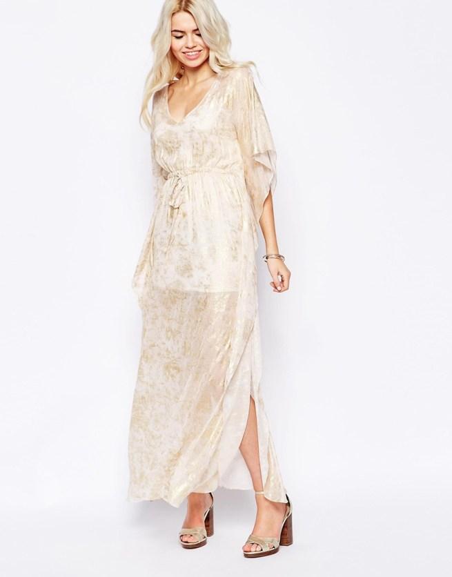 rochie stil caftan cu auriu
