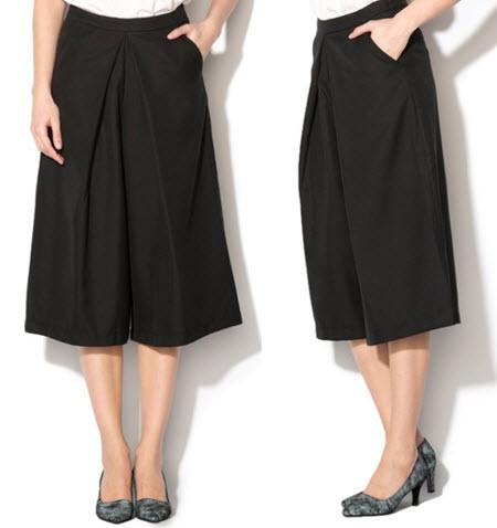 Pantaloni culotte negri cu pliseuri Dalia de la ICHI