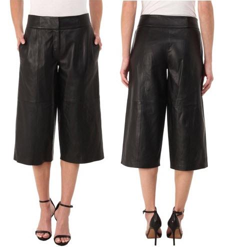 fusta pantalon din piele de oaie DKNY