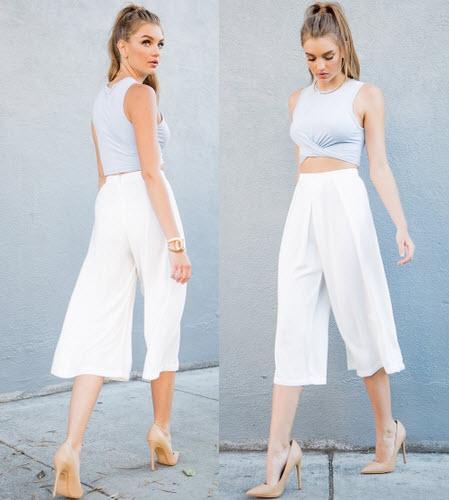 fusta pantaloni alba