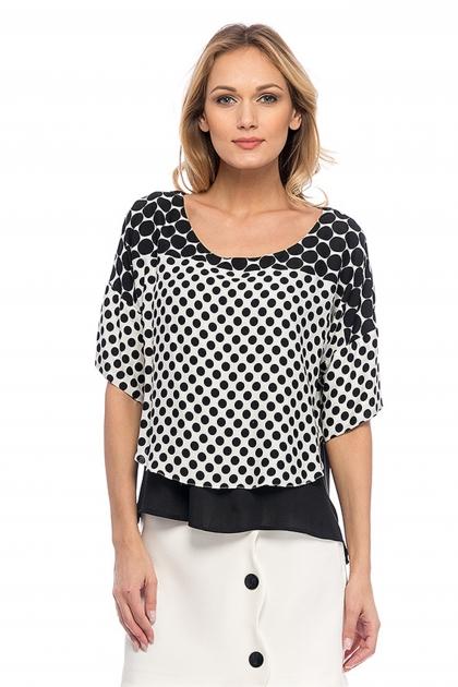 Bluza suprapusa asimetrica cu buline alb si negru
