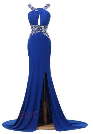 rochie albastra cu crapatura laterala si cristale