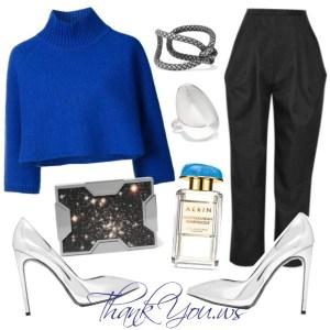 pulover albastru din lana in outfit elegant