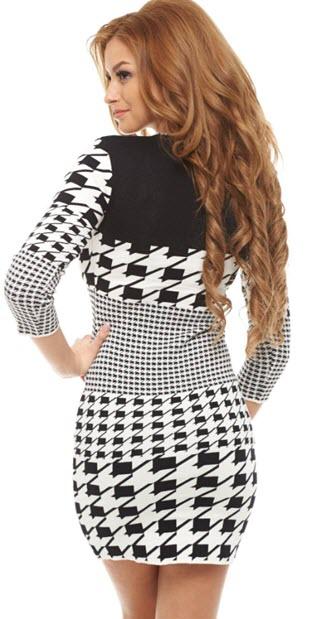 rochie din tricot cu desen pepit