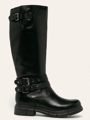 cizme din piele neagra inalte