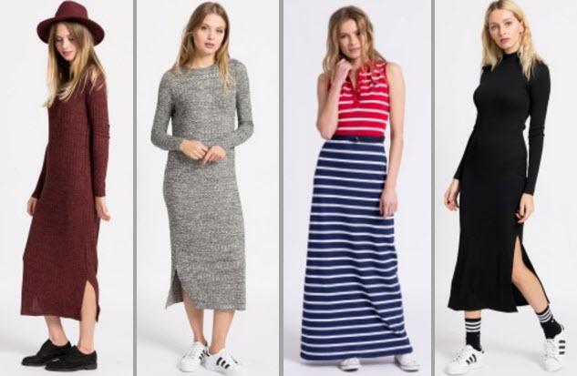 rochii maxi din tricot in culori uni si in dungi cu maneci lungi si fara maneci