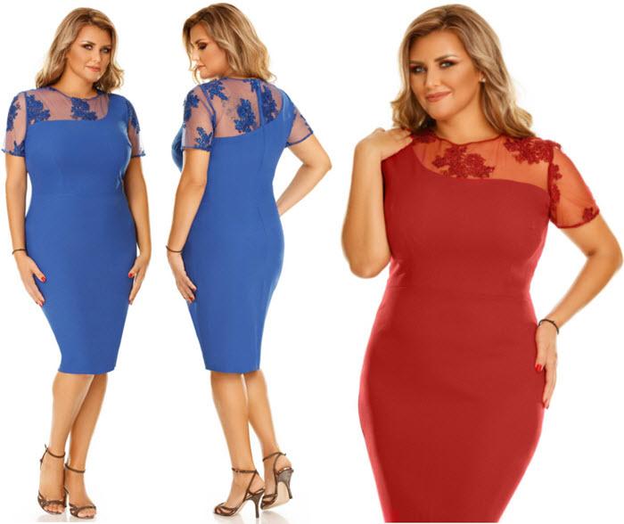 rochie pentru femei plinute lungime midi din triplu voal cu insertie de dantela albastra si rosie