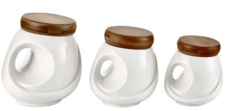 set 3 recipiente din portelan pentru depozitare condimente