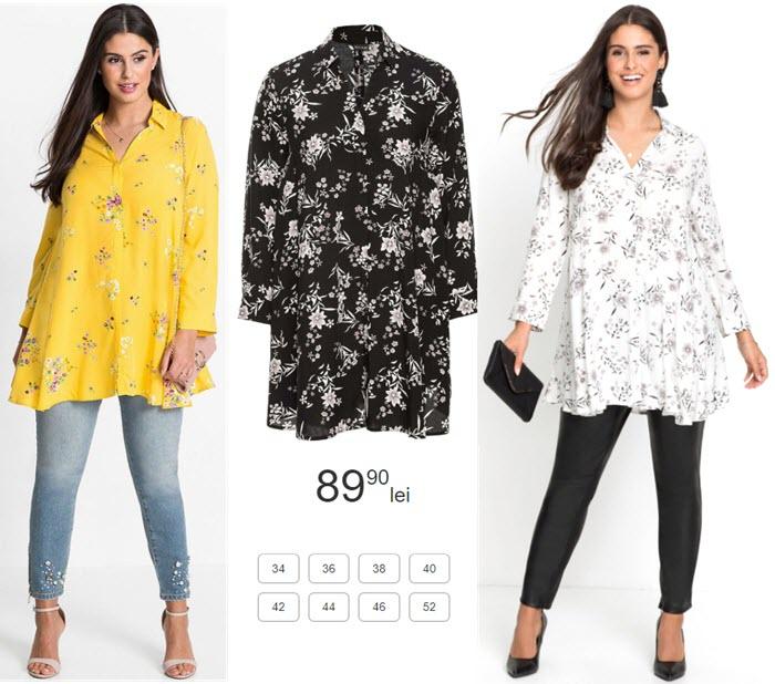 bluza tip camasa marime mare cu print cu flori