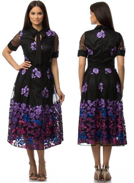 rochie de seara neagra accesorizata cu broderie ROH