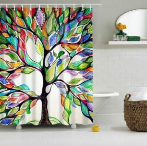 perdea de dus cu desen copac cu frunze colorate