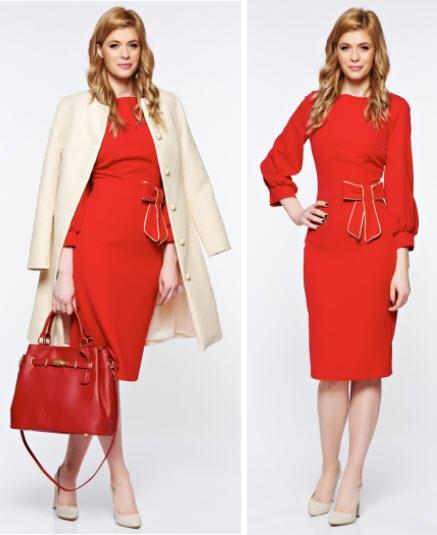 rochie office cu maneca lunga midi