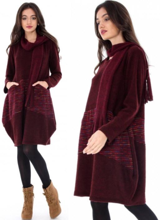 Rochii groase tricotate extrasize cu botine