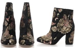 Botine Brodate, cu print floral textil piele Cele mai Frumoase