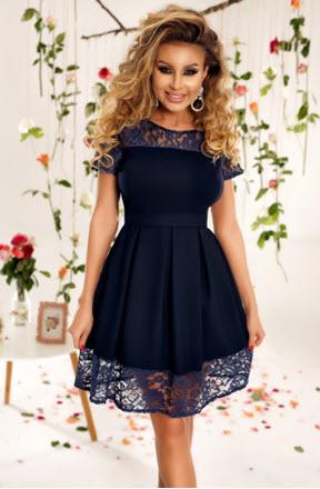rochie de seara midi bleumarin