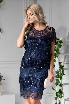 rochie din dantela cu franjuri si aplicatii stralucitoare