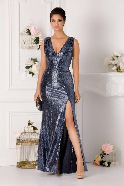 rochie lunga cu crapatura bleumarin cu paiete fara maneci