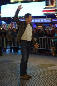Phil Keoghan, host, at the starting line in Times Square on May 31. Courtesy: CBS