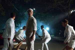 """SCREAM QUEENS: Glen Powell as Chad in the """"Chainsaw"""" episode of SCREAM QUEENS airing Tuesday, Sept. 29 (9:00-10:00 PM ET/PT) on FOX. ©2015 Fox Broadcasting Co. Cr: Hilary Gayle/FOX."""