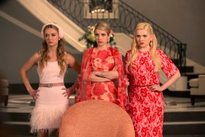 "SCREAM QUEENS: Pictured L-R: Billie Lourd as Chanel #3, Emma Roberts as Chanel Oberlin and Abigail Breslin as Chanel #5 in ""Pilot,"" the first part of the special, two-hour series premiere of SCREAM QUEENS airing Tuesday, Sept. 22 (8:00-10:00 PM ET/PT) on FOX. ©2015 Fox Broadcasting Co. Cr: Steve Dietl/FOX."