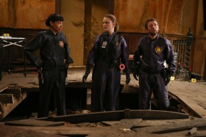 """BONES: L-R:  Tamara Taylor, Emily Deschanel and TJ Thyne in the special """"The Resurrection in the Remains"""" BONES/SLEEPY HOLLOW crossover episode of BONES airing Thursday, Oct. 29 (8:00-9:00 PM ET/PT) on FOX. ©2015 Fox Broadcasting Co.  Cr:  Kevin Estrada/FOX"""