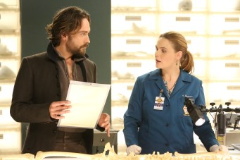 "BONES: L-R: Guest star Tim Mison and Emily Deschanel in the special ""The Resurrection in the Remains"" BONES/SLEEPY HOLLOW crossover episode of BONES airing Thursday, Oct. 29 (8:00-9:00 PM ET/PT) on FOX. ©2015 Fox Broadcasting Co. Cr: Patrick McElhenney/FOX"