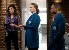 "BONES: L-R: Michaela Conlin, Emily Deschanel and guest star Eugene Byrd in the ""The Promise in the Palace"" episode of BONES airing Thursday, Nov. 12 (8:00-9:00 PM ET/PT) on FOX. ©2015 Fox Broadcasting Co. Cr: Jennifer Clasen/FOX"