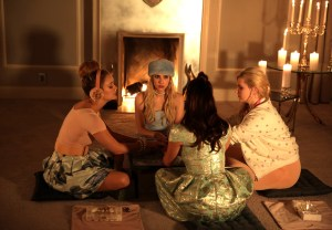 """SCREAM QUEENS: L-R: Billie Lourd, Emma Roberts, Lea Michele and Abigail Breslin in the """"Beware Of Young Girls"""" episode of SCREAM QUEENS airing Tuesday, Nov. 3 (9:00-10:00 PM ET/PT) on FOX. ©2015 Fox Broadcasting Co. Cr: Patti Perret/FOX."""