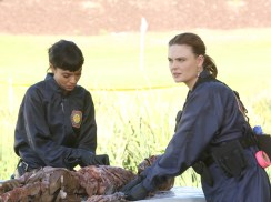 "BONES: L-R: Tamara Taylor and Emily Deschanel in the ""High Treason in the Holiday Season"" episode of BONES airing Thursday, Nov. 19 (8:00-9:00 PM ET/PT) on FOX. ©2015 Fox Broadcasting Co. Cr: Patrick McElhenney/FOX"