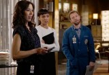 """BONES: L-R: Michaela Conlin, Tamara Taylor and TJ Thyne in the first part of the two-hour """"The Cowboy in the Contest/The Doom in the Boom"""" fall finale episode of BONES airing Thursday, Dec. 10 (8:00-10:00 PM ET/PT) on FOX. ©2015 Fox Broadcasting Co. Cr: Jennifer Clasen/FOX"""