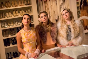"""SCREAM QUEENS: L-R: Lea Michele, Billie Lourd and Abigail Breslin in the """"Ghost Stories"""" episode of SCREAM QUEENS airing Tuesday, Nov. 17 (9:00-10:00 PM ET/PT) on FOX. ©2015 Fox Broadcasting Co. Cr: Steve Dietl/FOX."""