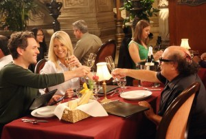 """IT'S ALWAYS SUNNY IN PHILADELPHIA -- """"Frank Falls Out The Window"""" -- Episode 1102 (Airs Wednesday, January 13, 10:00 pm e/p) Pictured: (l-r) Glenn Howerton as Dennis, Kaitlin Olson as Dee, Danny DeVito as Frank. CR: Patrick McElhenney/FX"""