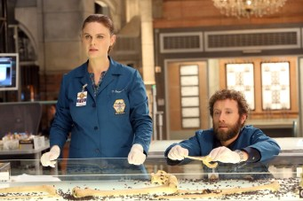 """BONES: L-R: Emily Deschanel and TJ Thyne in the """"The Secret in the Service"""" episode of BONES airing Thursday, May 26 (8:00-9:00 PM ET/PT) on FOX. ©2016 Fox Broadcasting Co. Cr: Patrick McElhenney/FOX"""