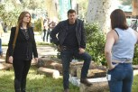 "BONES: L-R: Emily Deschanel, David Boreanaz and guest star Stephanie Czajkowski in the ""The Flaw in the Saw"" episode of BONES airing Tuesday, Feb. 7 (9:01-10:00 PM ET/PT) on FOX. ©2017 Fox Broadcasting Co. Cr: Ray Mickshaw/FOX"