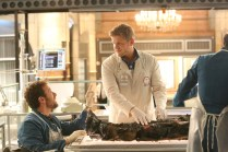 """BONES: L-R: TJ Thyne and guest star Michael Grant Terry in the """"The Final Chapter: The Radioactive Panthers in the Party"""" episode of BONES airing Tuesday, March 14 (9:01-10:00 PM ET/PT) on FOX. ©2017 Fox Broadcasting Co. Cr: Patrick McElhenney/FOX"""