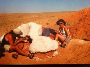 Bolor Minjin excavating a nesting oviraptorid in the Gobi Desert, Mongolia. Photo courtesy Bolor Minjin.