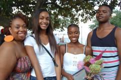 Winning Poet, Gloria Clark (holding flowers), with runners up