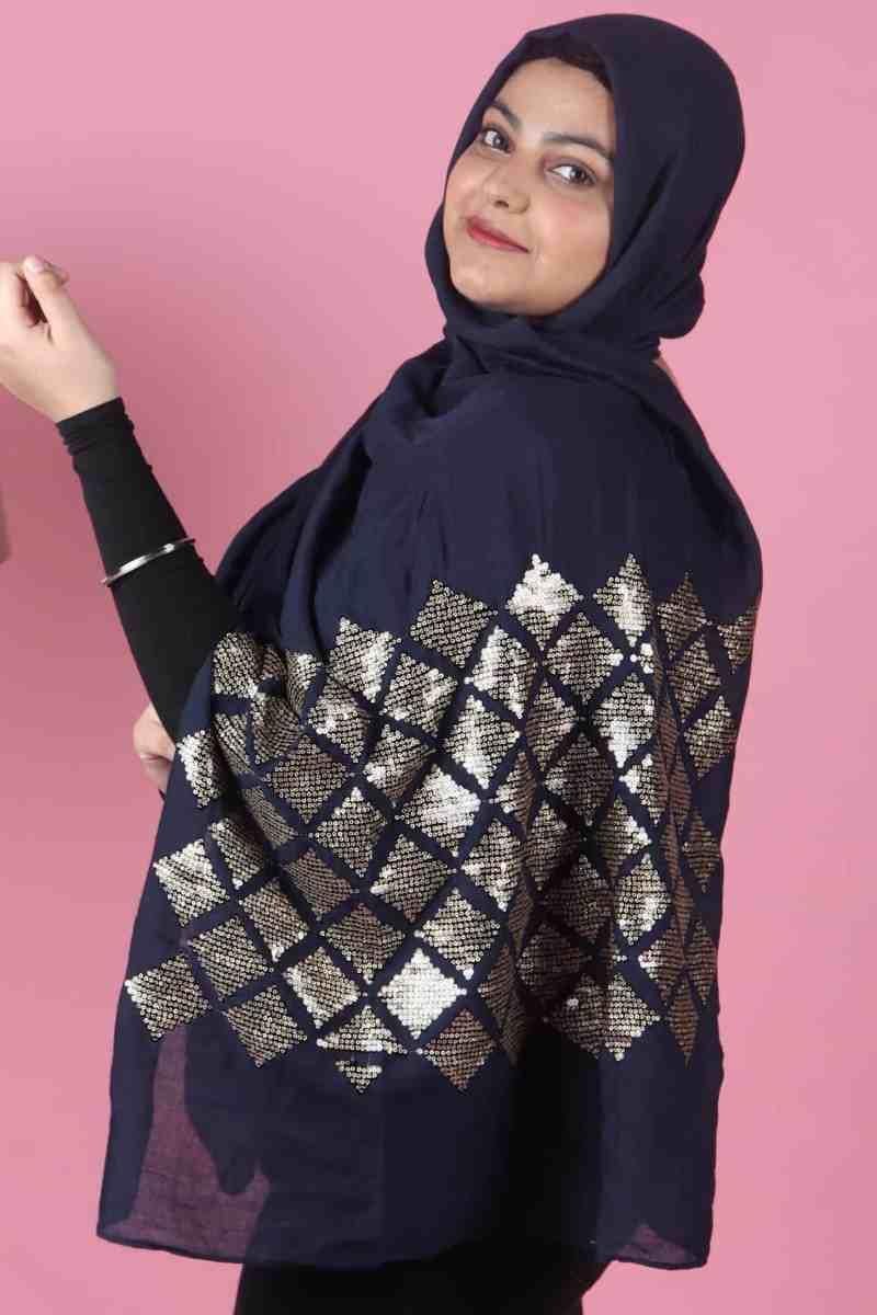 blue diamond sequins hijab