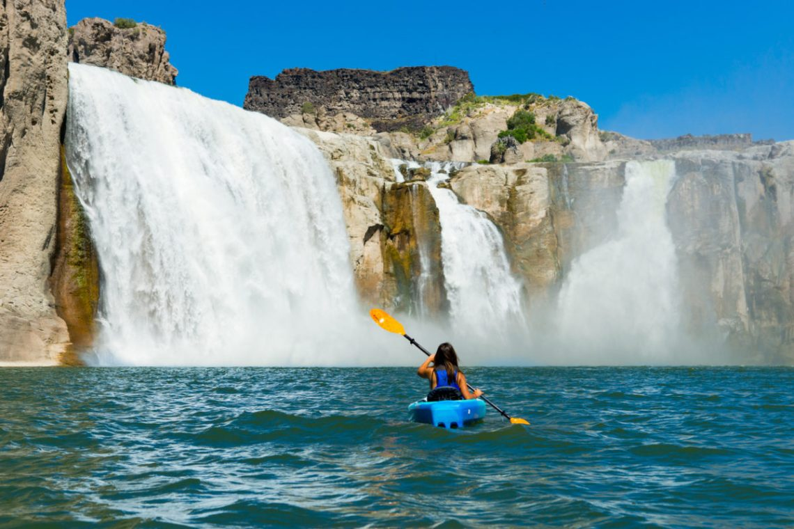 Kayaking to the bottom of Shoshone Falls in Twin Falls