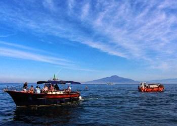 Boat in Sorrento Italy by Vesuvius