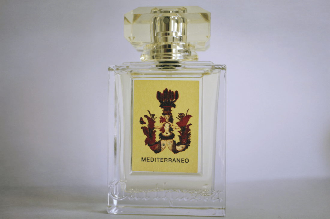 A bottle of carthusia mediterraneo perfume capri