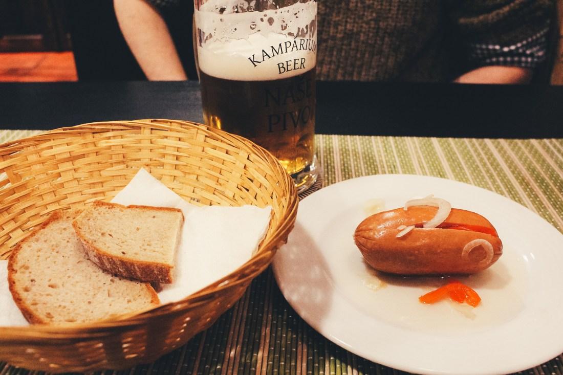Pickled sausages in Prague
