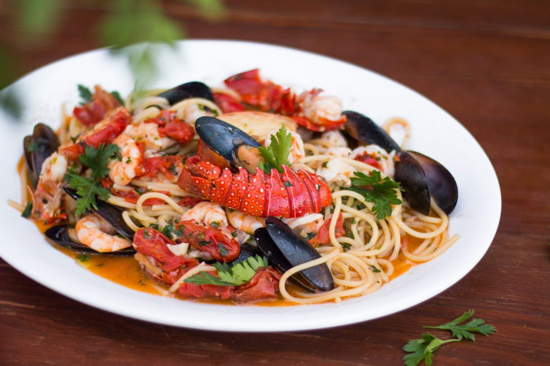 Plate of a pasta dish with seafood
