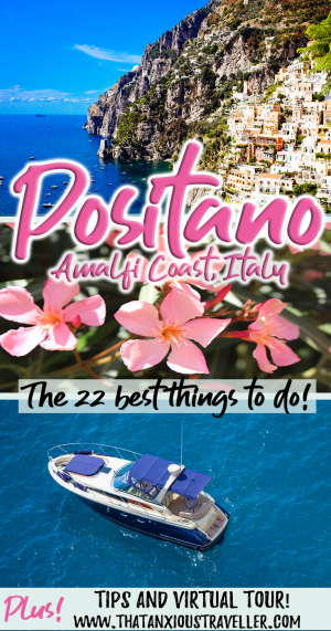 The ultimate guide to things to do in Positano, Italy! Click to learn insider tips, photography spots, the best hotels and restaurants, packing list and what to wear, and a virtual tour! https://thatanxioustraveller.com #positano #italy #amalfi #coast #thingstodo #guide #tips